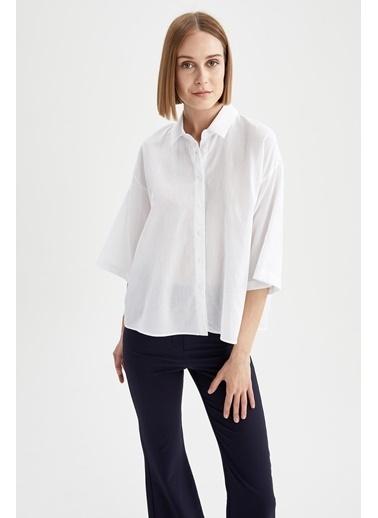 DeFacto Basic Oversize Fit Yarım Kollu Gömlek Beyaz